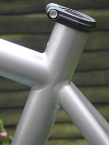 Seat clamp on Ti-Bride - note plenty of clearance between the weld and the seat tube slot.