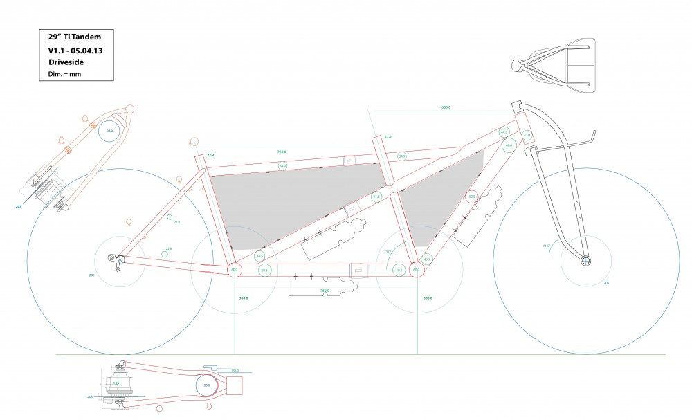More thoughts on Roy's tandem frame, this time he's thinking about lots of bottle bosses to fit frame bags.