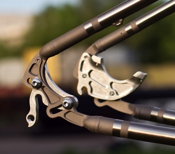 On a Triton bike: the rocker dropout with very neat integral brake mount.