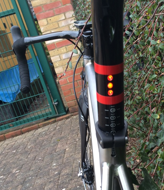 Running internal cables for the lighting means Rich could do super neat things like these integrated LED's in the seat post!